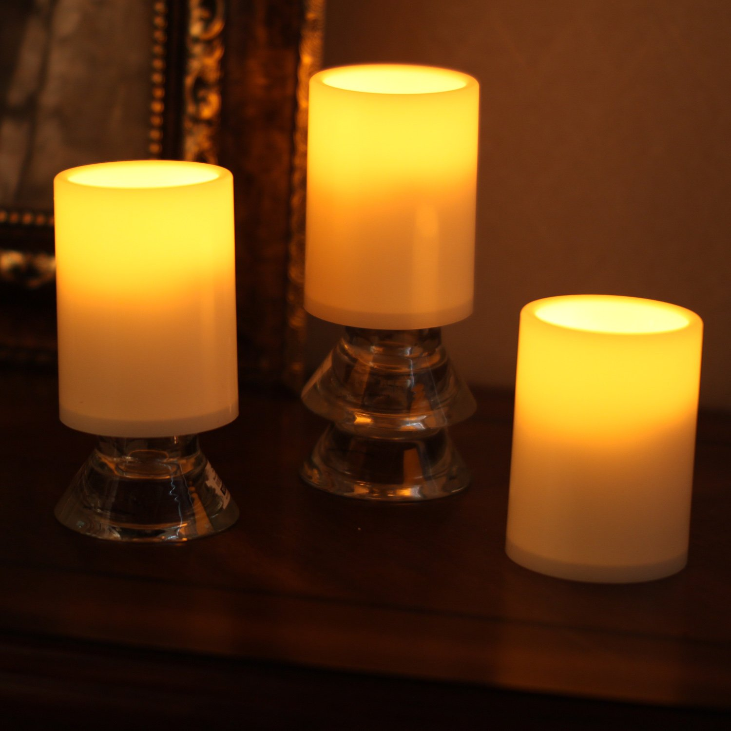 amazon com home impressions flameless battery operated plastic amazon com home impressions flameless battery operated plastic pillar led candle light with timer 3 x 4