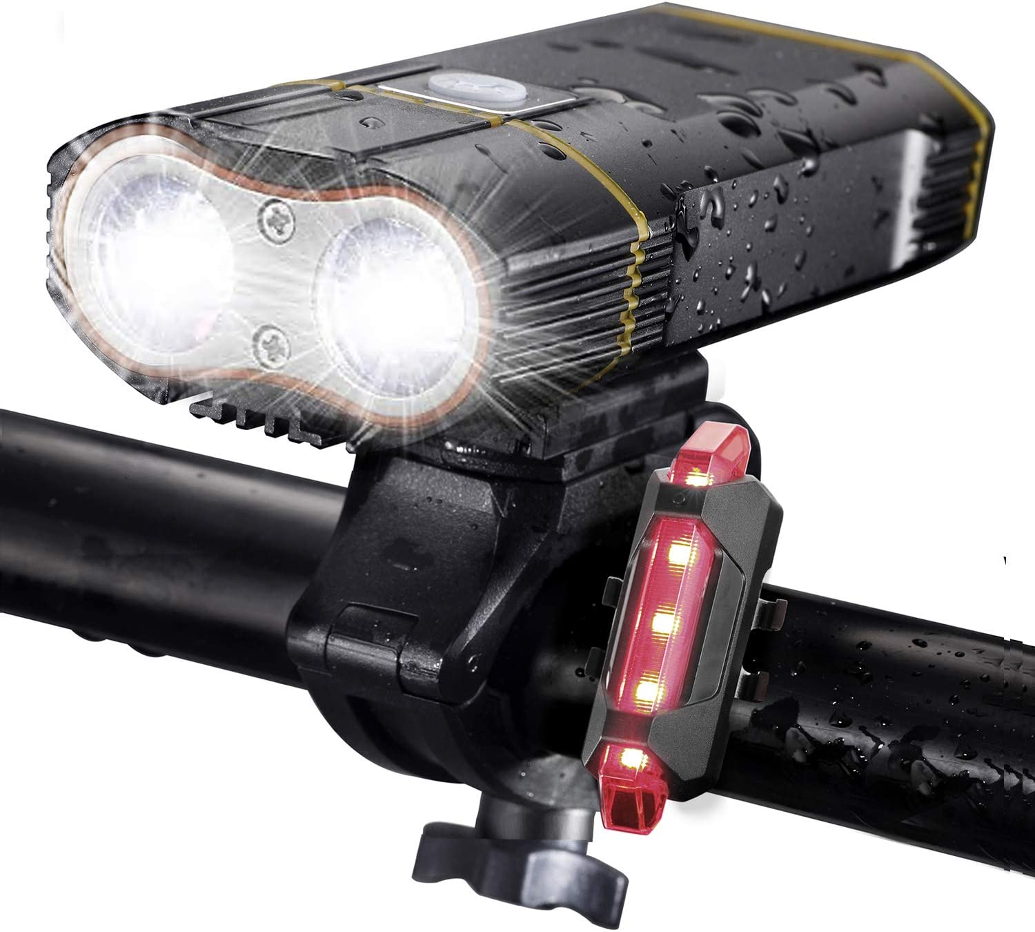 USB Rechargeable LED MTB Bike Headlamp 18650 Bicycle Torch Front Back Lights Set