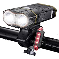 DiKoMo BIKE LIGHT Front and Back 2400 Lumen 2 LED BEST Mountain Bike Lights For Night Riding, Rechargeable Bicycle Headlight & FREE Rear Light For Road Bike Bycicle Accessories For Kids & Adult