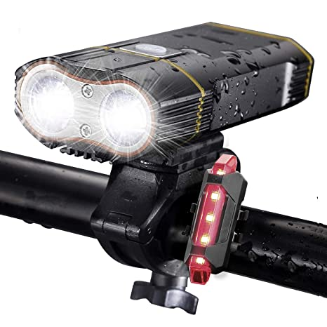 c4291c10f5c DiKoMo BIKE LIGHT Front and Back 2400 Lumen 2 LED BEST Mountain Bike Lights  For Night