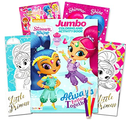 Shimmer And Shine Coloring Book Set Jumbo Stickers Markers More