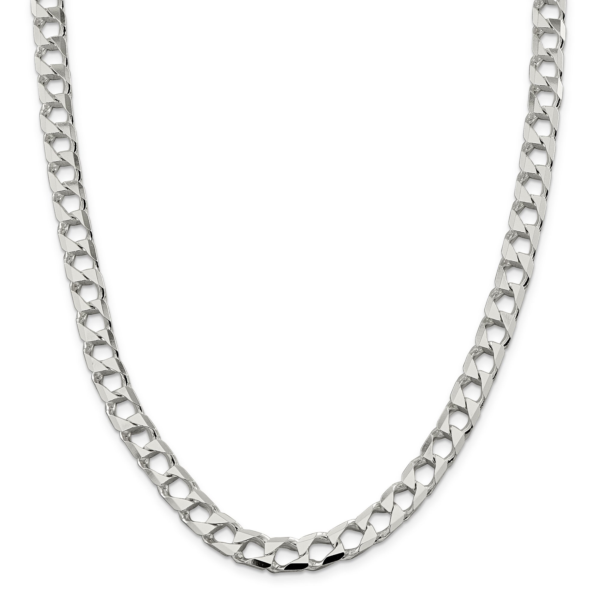ICE CARATS 925 Sterling Silver 8.6mm Link Curb Chain Necklace 24 Inch Square Flat