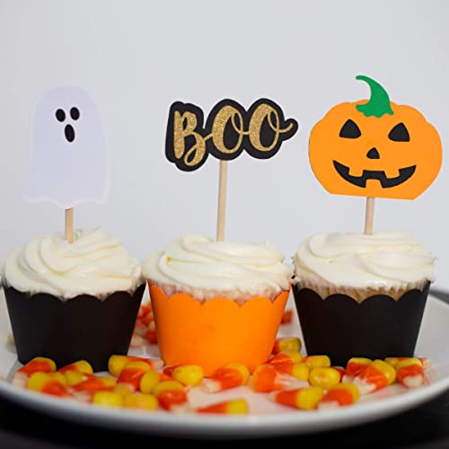 Halloween Cupcake Toppers Pumpkin Cupcake Decorations Fall Party Decor Set of 12