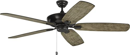Monte Carlo 5CSM60AGP Colony Super Max Dual Mount 60 Outdoor Ceiling Fan with Pull Chain, 5 Blades, Aged Pewter