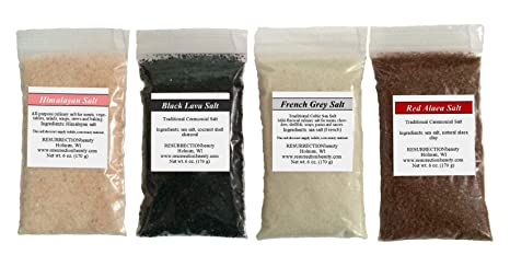 Gourmet Sea Salt Sampler: 4 X 6oz. Packages, Pink Himalayan, French Grey, Hawaiian Red Alaea And Black Lava, 24 Oz. Total by Resurrectio Nbeauty