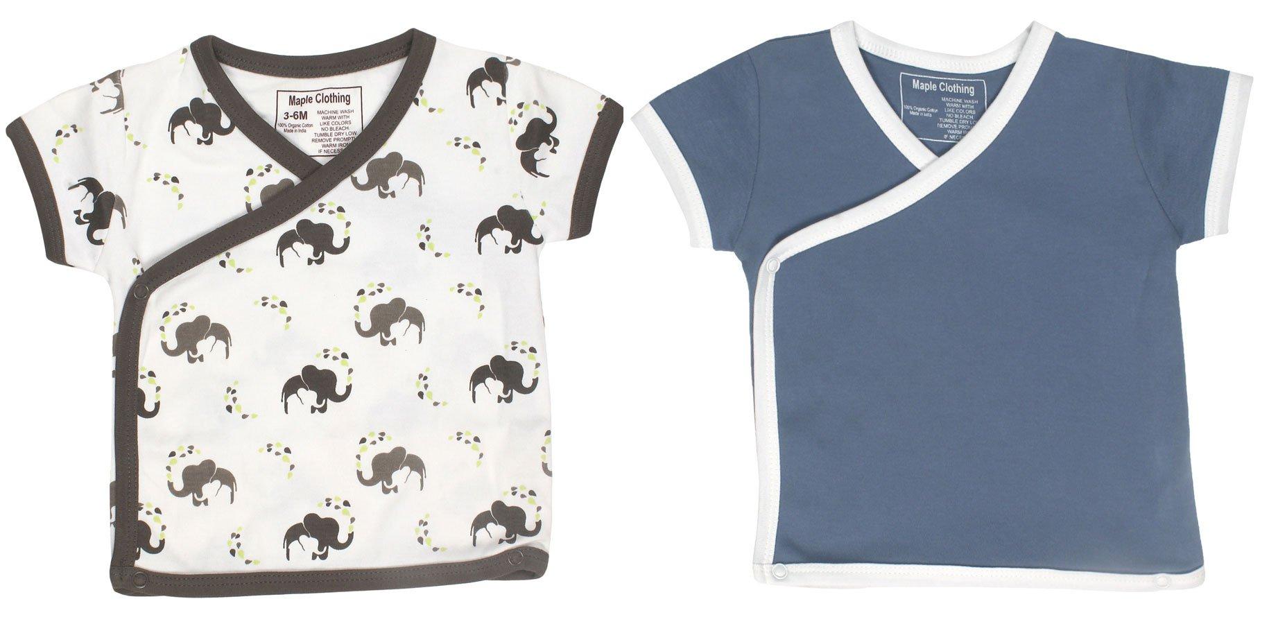 Organic Cotton Baby Short Sleeve Kimono (2 Pack, Elephant/Slate, 6-12m)