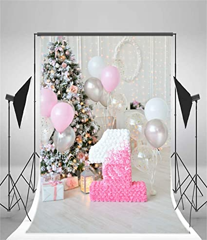 AOFOTO 5x7ft Baby 1st Birthday Backdrop Girl Room Interior Pine Tree Gifts Balloons Little Princess One