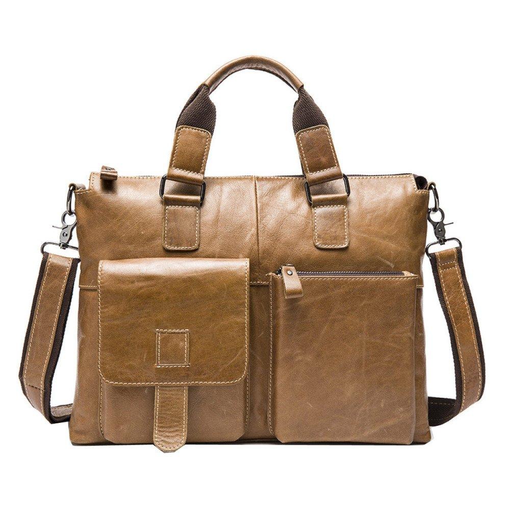 Leather Men's Casual Business Bag Men's Tote Bag Briefcase Shoulder Bag Crossbody Bag,Yellowbrown-L