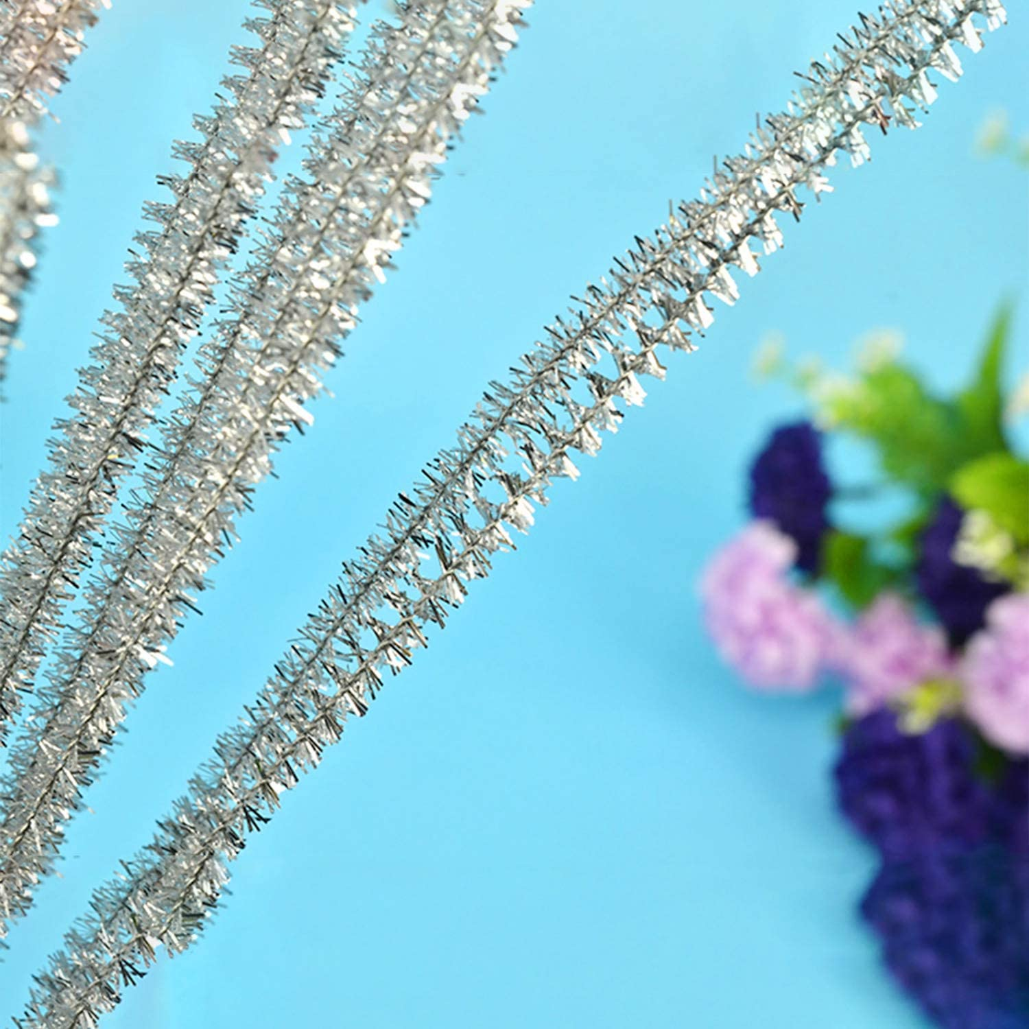 Waycreat 200 Pieces Pipe Cleaners Silver Chenille Stem for DIY Art Craft Decorations 6mm x 12 Inch