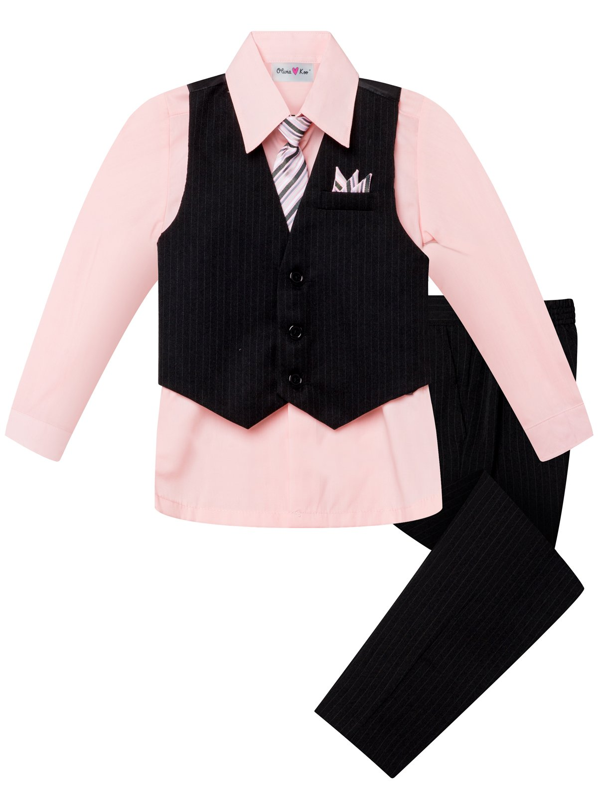 OLIVIA KOO Boy's Colored Shirt Pinstripe 4 Piece Pinstriped Vest Set Size Infant-Boy 20
