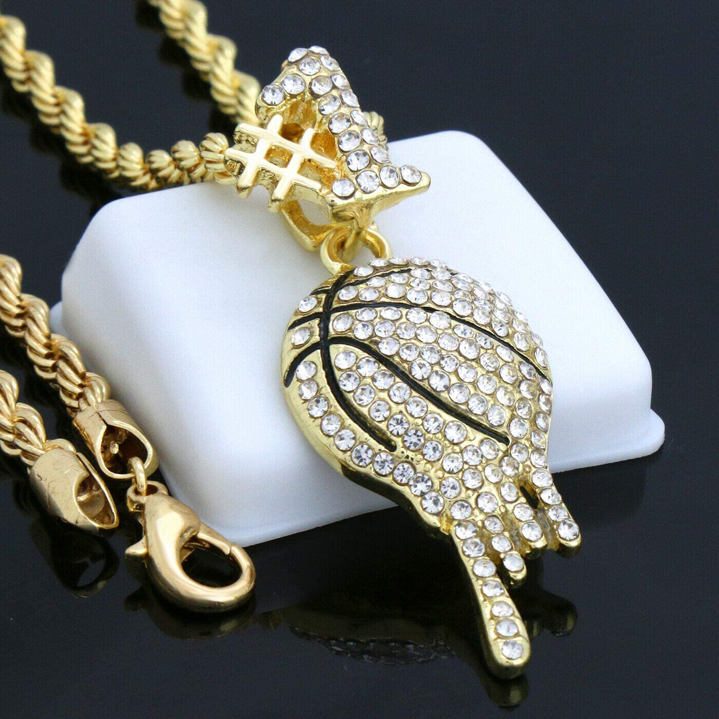 Anniversaries Gold ARB Market 24 Inch 14K Gold Pt Rope Choker Chain Fully Cz Drip Basketball Pendant Fashion For Men And Women In Birthdays Holidays And Any Other Special Occasions