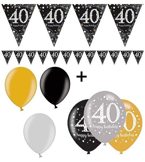 Amscan Completo Fiesta de 40 cumpleaños Oro Negro Plata ...