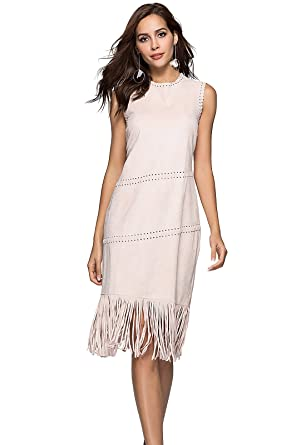 a625246df60e ANNA&CHRIS Women's Midi Dress O-Neck Slimming Sleeveless Tassel Cocktail  Dresses ...