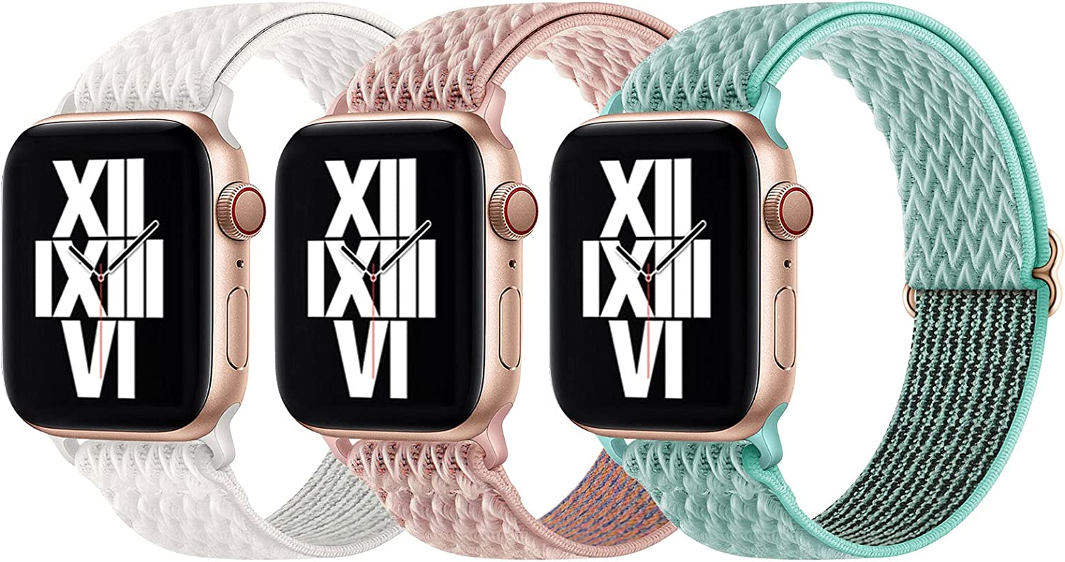 Surace Stretchy Solo Loop Band Compatible with Apple Watch Bands 44mm 42mm, Adjustable Elastic Sport Strap Women Compatible for Apple Watch Series 6/5/4/3/2/1 SE, 3-Pack Pink Sand/Mint Green/Seashell