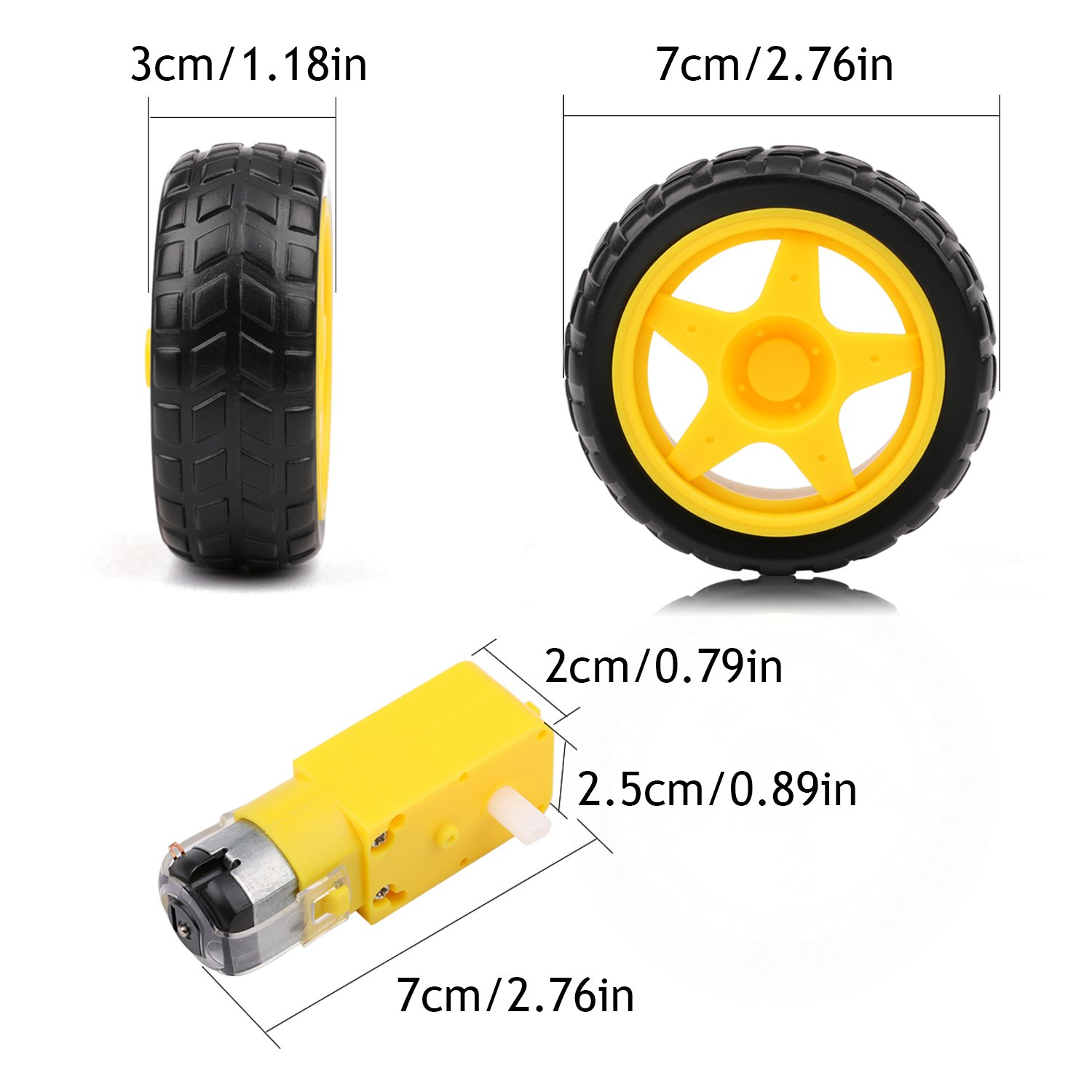 4PCs DC Electric Motor 3-6V Dual Shaft Geared TT Magnetic Gearbox Engine with 4Pcs Plastic Toy Car Tire Wheel, Mini Φ67mm Smart RC Car Robot Tyres Model Gear Parts, Yeeco by Yeeco (Image #3)
