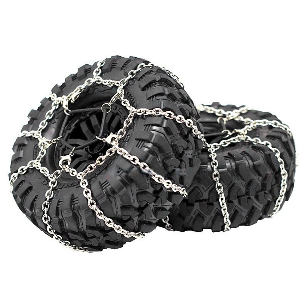Dabixx Steel Snow Chain, 2Pieces 1/10 Crawler Steel Snow Chain for 1.9 Crawler Tire 1:10 RC Car Buggy Truck - 114MM
