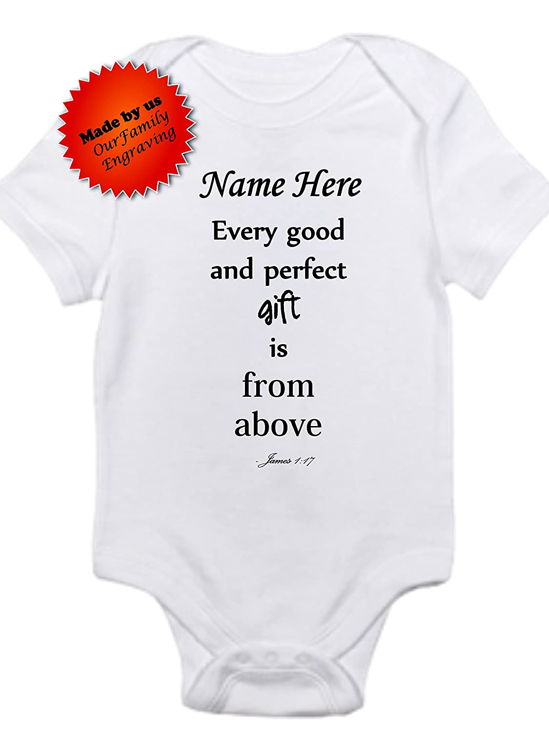 Custom name Every good and perfect gift is from above onesie gerber bodysuit cute baby