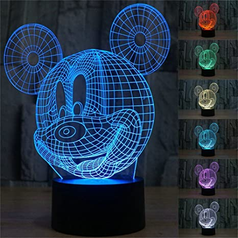 Flatamp; Abs Touch Kids Colors Table Optical Acrylic 7 3d With GiftElstey Usb Led Illusion Night Mouse Mickey Light Desk Lamp For Lights Base 534ARjLq