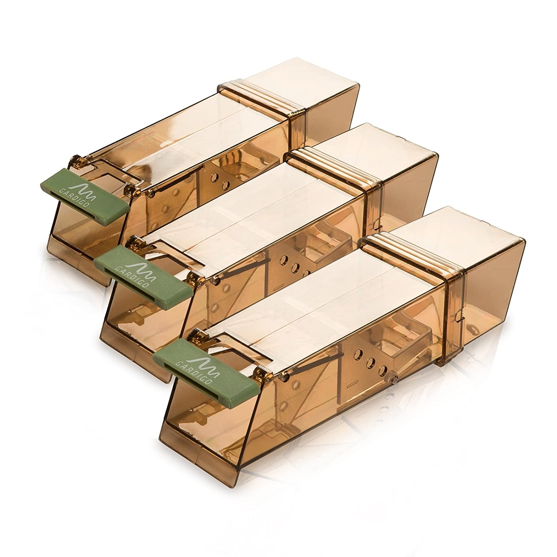 Pièges à Souris Vivants; Humain et Réutilisable; Mouse Trap Intelligent; pour Intérieur et Extérieur; 18 x 6 x 5 cm Gardigo 623583 Set de 3 Souricière Souris