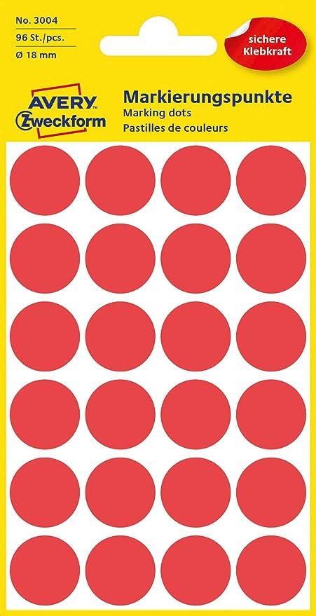 AVERY Zweckform 3595 selbstklebende Markierungspunkte rot /Ø 18 mm, 96 abl/ösbare Klebepunkte auf 4 Bogen, runde Aufkleber f/ür Kalender, Planer und zum Basteln, Papier, matt