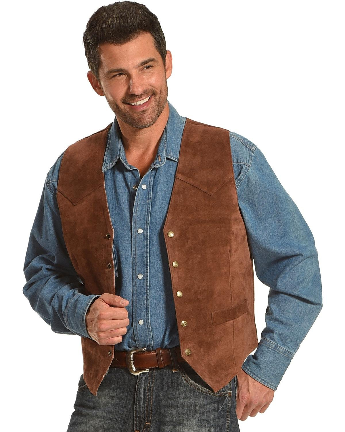 Roper Men's Suede Vest Brown Large