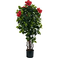 Nearly Natural 4-Foot Silk Hibiscus Tree in Red