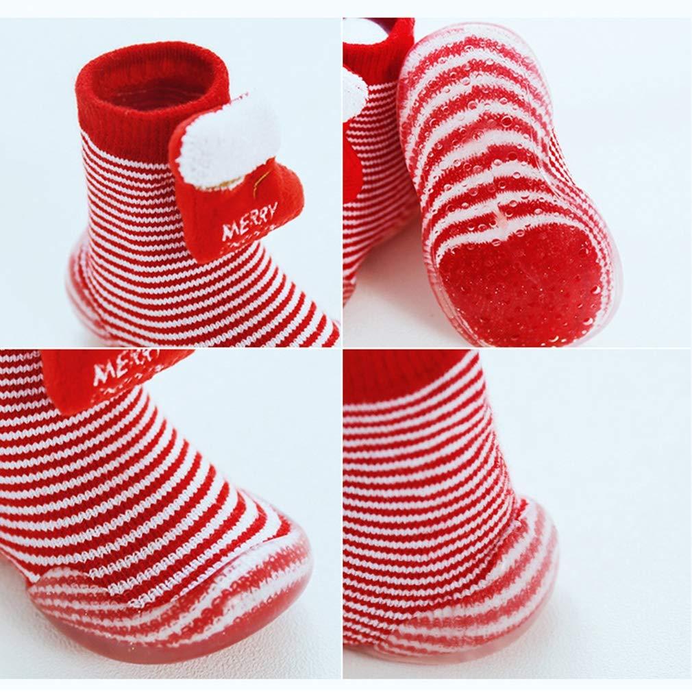 Xiang Ru Newborn Toddler Baby Anti-slip Slipper Floor Socks Christmas XMAS Cotton Thick Terry Cloth
