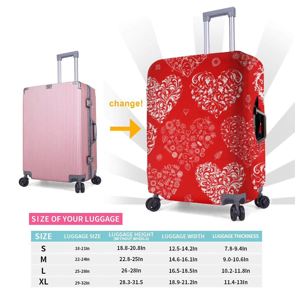 Travel Luggage Cover Love Design Travel Suitcase Protector Anti-scratch Washable Dust Thicken Elasticity Cover