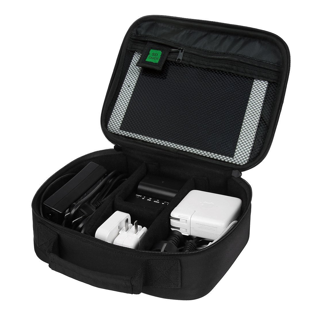 Ciaoed Zubehör Organizer Handliche Elektronik Tasche Reise Doppelte Fächer für Handy USB Cable Power Banks Festplatte Schwarz