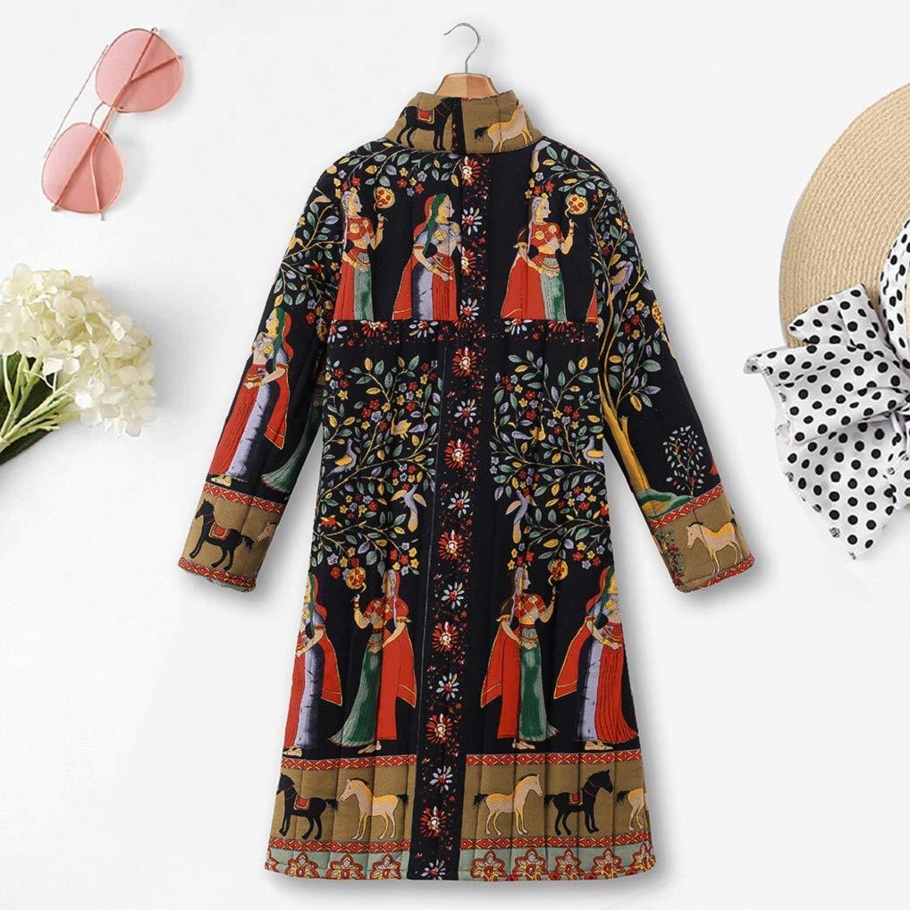 Missoul Womens Oversize Long Coats Ladies Winter Warm Vintage Chinese Style Parka Loose Ethnic Boho Print Button Jacket