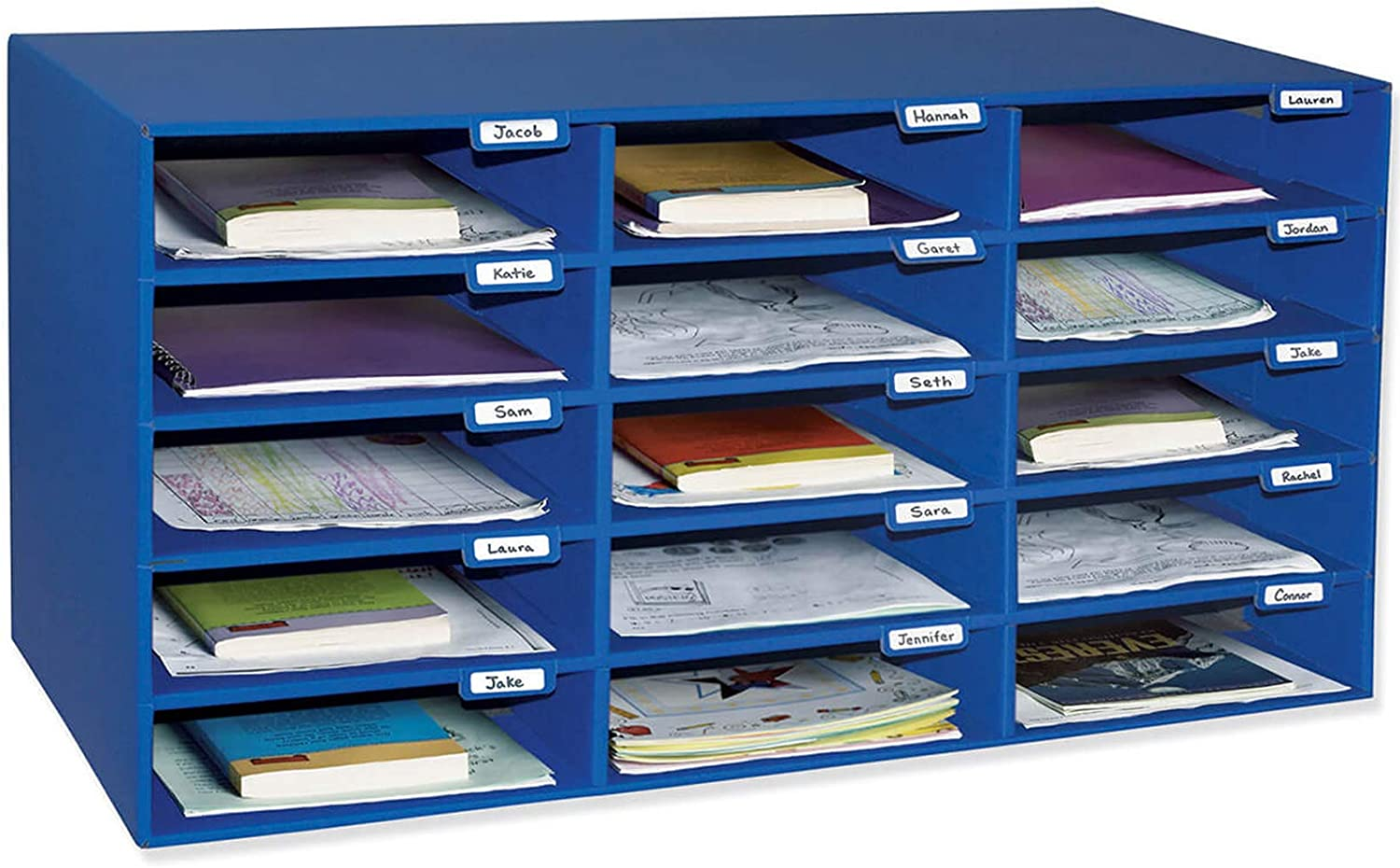 "Classroom Keepers Mailbox, 15-Slot, Blue, 16-3/8""H x 31-1/2""W x 12-7/8""D"