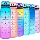 Elvira 32oz Motivational Water Bottle with Time Marker & Removable Fruit Infuser, Leakproof BPA Free Wide Mouth, Ensure You D