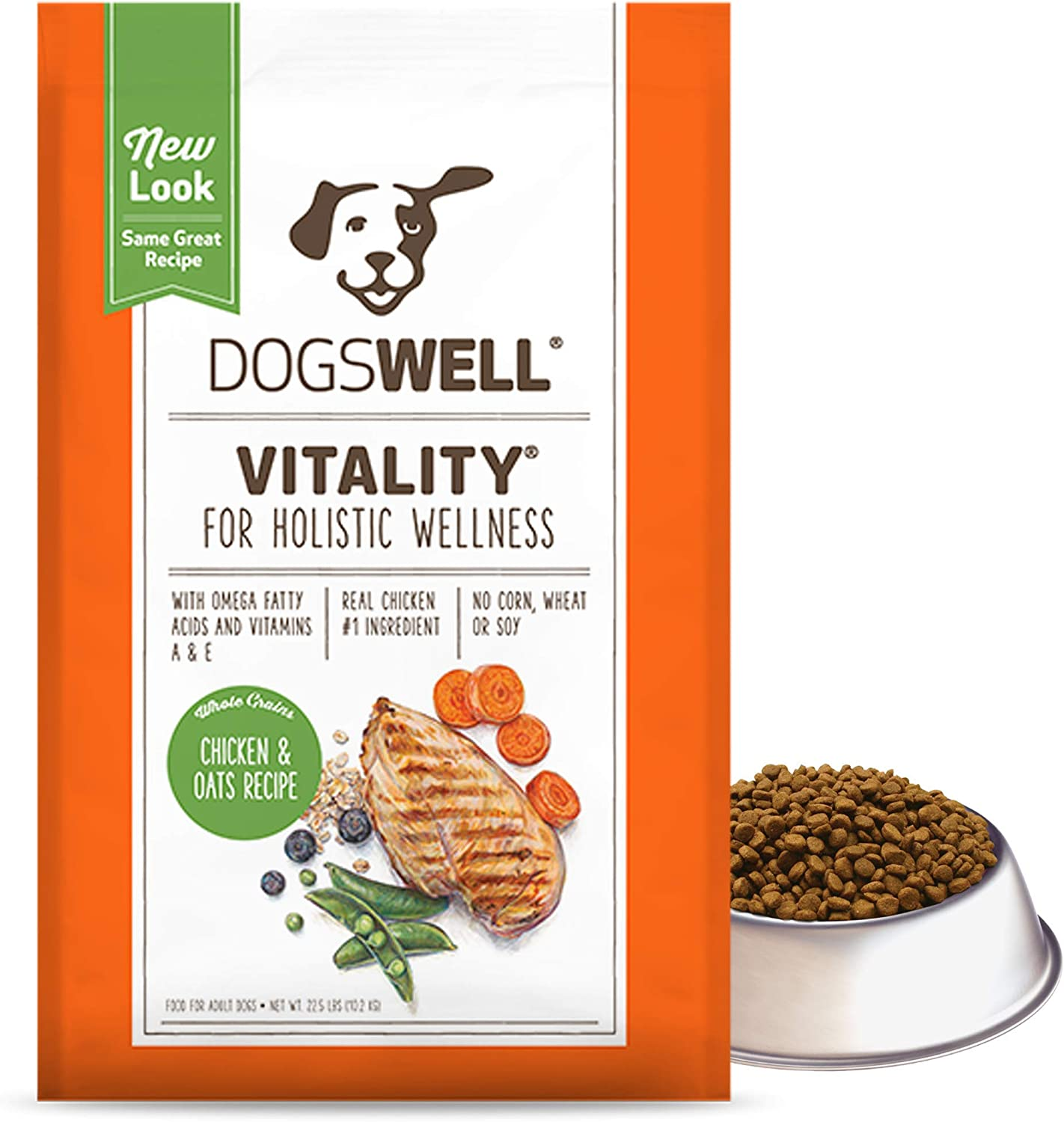 DOGSWELL Vitality Dry Dog Food, Vitamins & Essential Fatty Acids, Chicken & Oats Recipe, 22.5 lbs