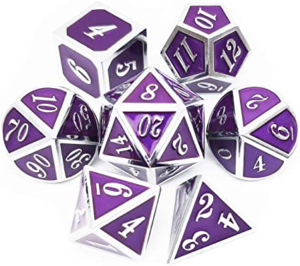 7Pcs Metal Polyhedral Dice For Dungeons /& Dragons DND RPG Board Game Blue//Purple