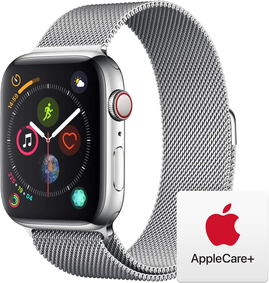 Apple Watch Series 4 (GPS + Cellular, 44mm) - Stainless Steel Case with Milanese Loop with AppleCare+ Bundle
