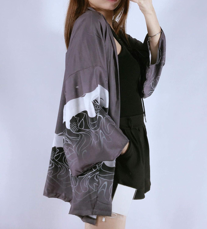 Siehin Damen Kimono Cardigan Japan Happi Kimono Fr/ühling-Sommer Jacke Yukata Coat Ukiyoe Baggy Tops