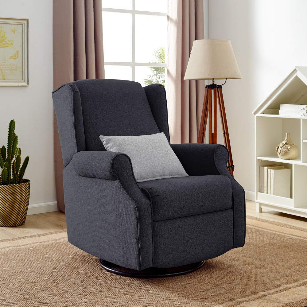 Classic Brands Expo Lovel Popstitch Upholstered Glider Swivel Rocker Chair, Charcoal by Classic Brands