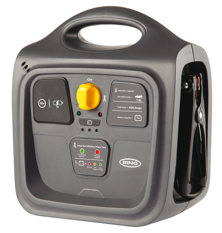 Ring RPP148 9A Portable Jump Starter, 12V Vehicles to 1.8L, 12V DC Socket, LED Light, Battery Power test, 2 USB Sockets