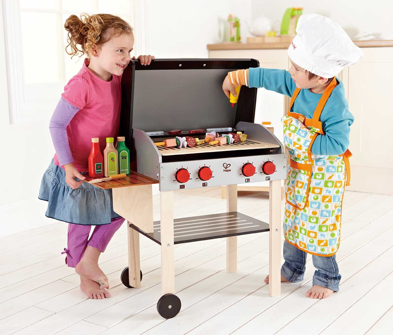 amazon com hape gourmet bbq grill and shish kabob wooden kitchen