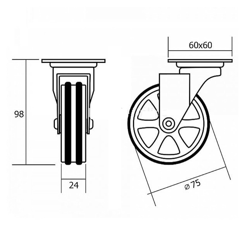 M/öbelrolle Bobby /Ø 75 mm Aluminiumrad mit Bremse