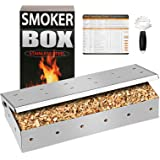 QuliMetal Smoker Box for Wood Chips, 25% Thicker Stainless Steel BBQ Grilling Accessories Won't Warp on Gas Grill or Charcoal