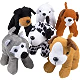 Bedwina Plush Puppy Dogs - (Pack of 12) 6 Inches Tall Stuffed Animals Bulk Assorted Puppies and Cute Stuffed Plushed Dog Puppies Assortment, Stocking Stuffers