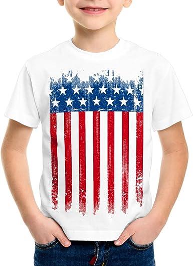 style3 USA Pabellón Nacional Camiseta para Niños T-Shirt Bandera ...