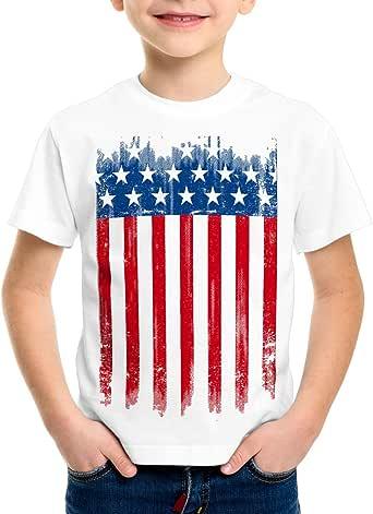 style3 USA Pabellón Nacional Camiseta para Niños T-Shirt Bandera Estados Unidos us Stars Stripes: Amazon.es: Ropa y accesorios