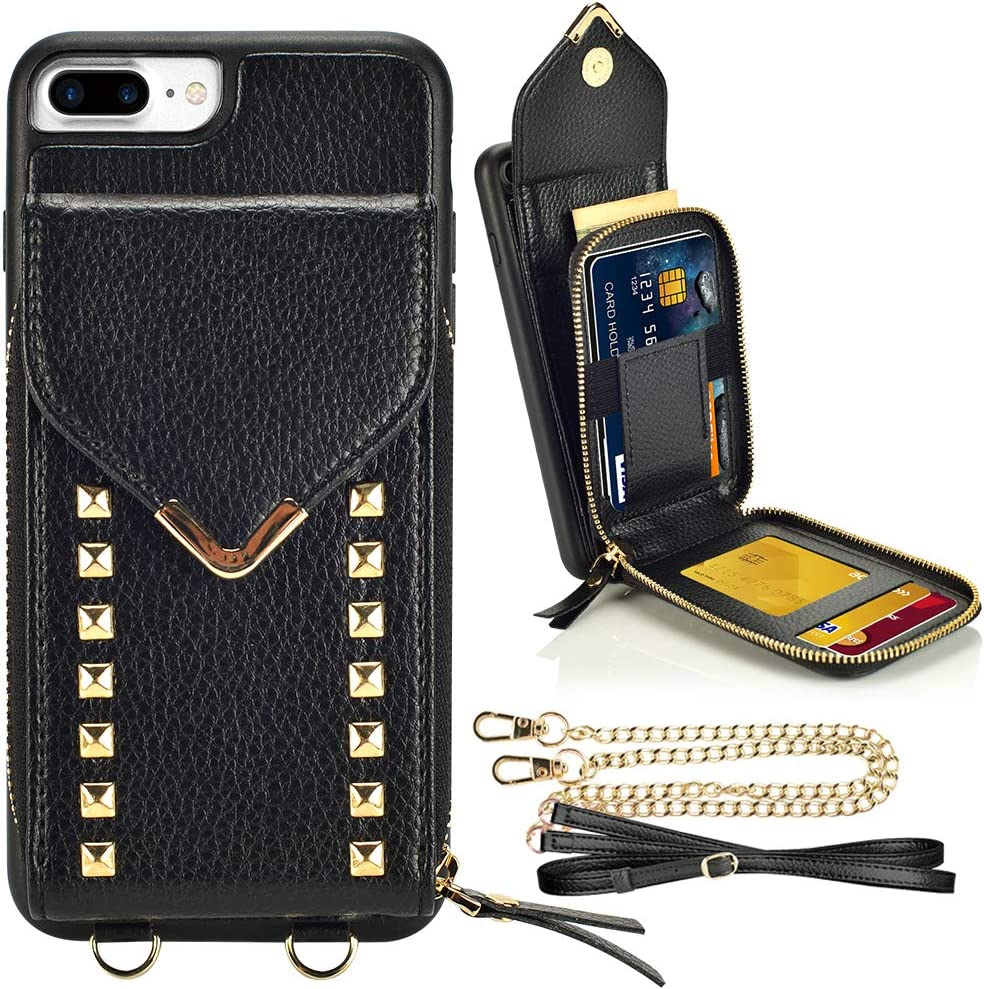 ZVE iPhone 8 Plus Wallet Case, iPhone 7 Plus Crossbody Case with Zipper Card Slot Holder Wrist Strap Shoulder Chain Protective Cover for iPhone 7 Plus/iPhone 8 Plus 5.5 inch - Black