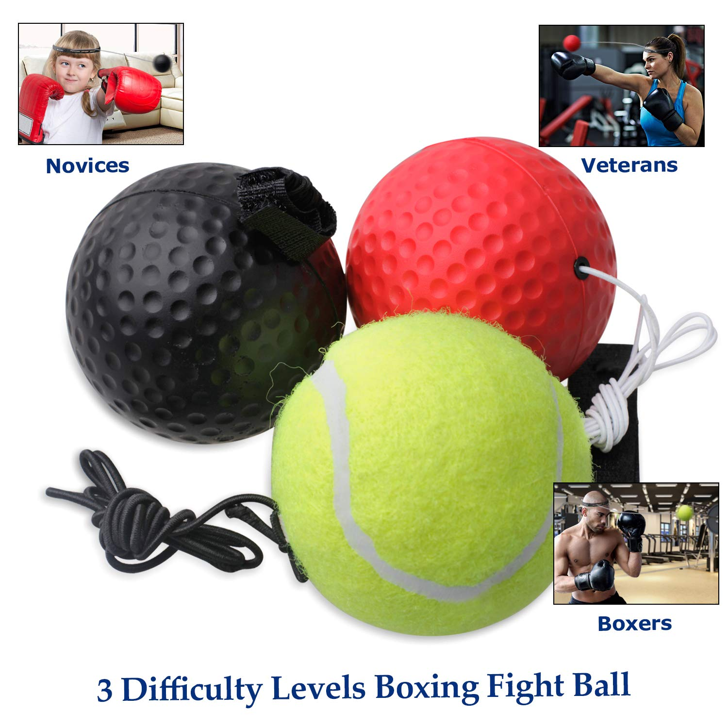 Hand Eye Coordination for Kids Adults Ruxifey Boxing Reflex Ball On String with Headband Set 2 Difficulty Fighting Punching Training Gear for Improving Reflex Ability Speed Reactions