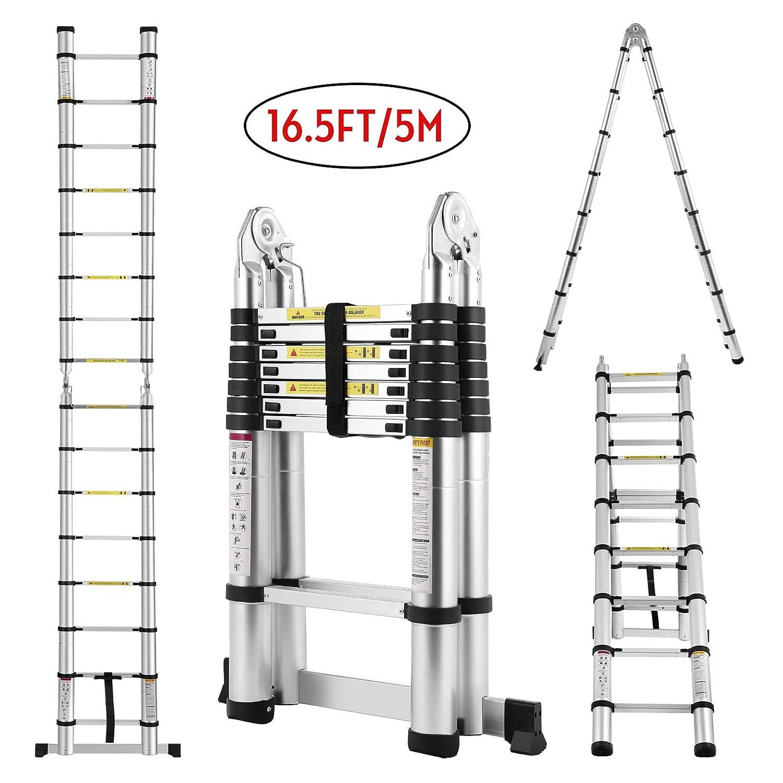 Idealchoiceproduct 16.5FT Extension Folding Telescopic Aluminium A Frame Shape Ladder Steps …