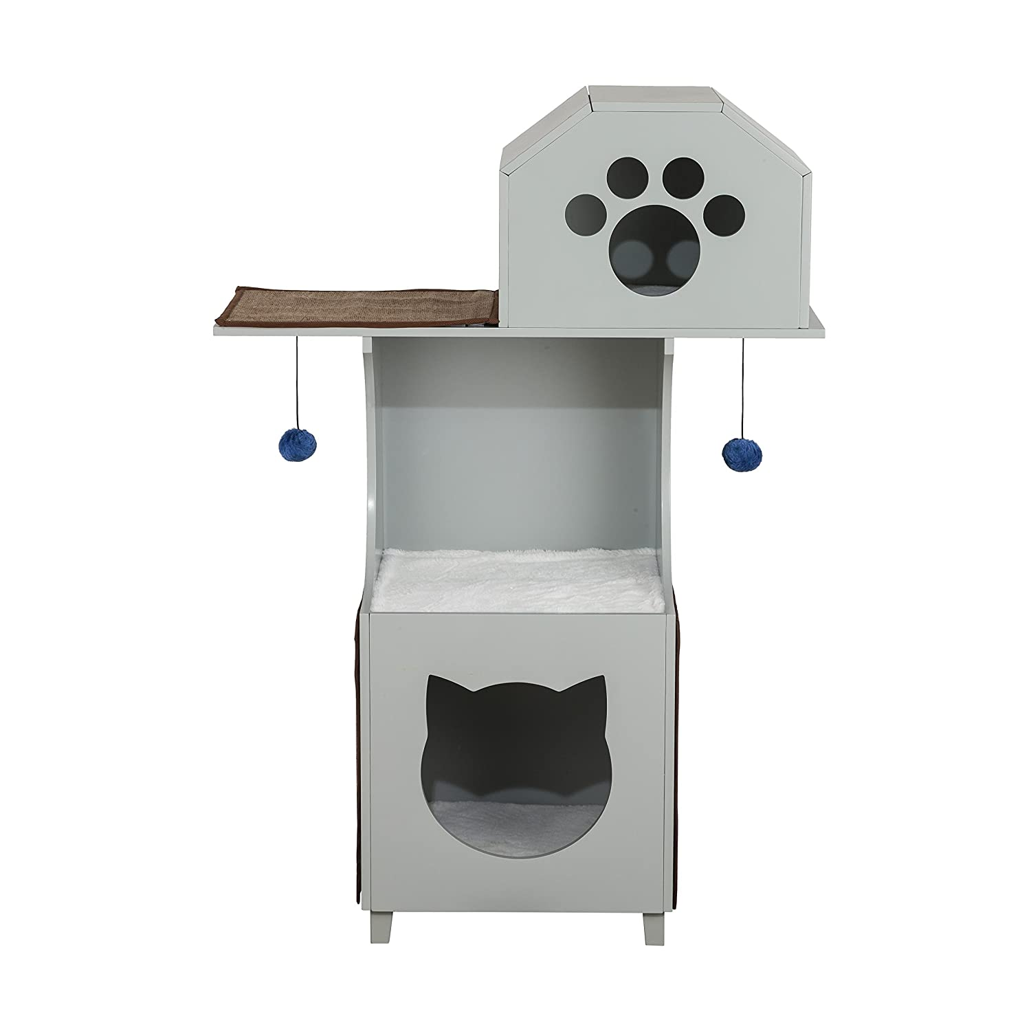 Ethan Pets Grey Cat Tower Box