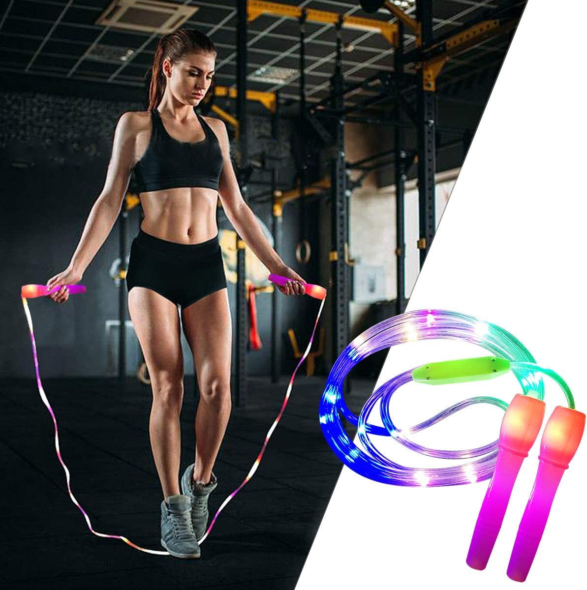 Fitness avec plaisir Pink brillant et néons DEL Corde DEL Corde à sauter