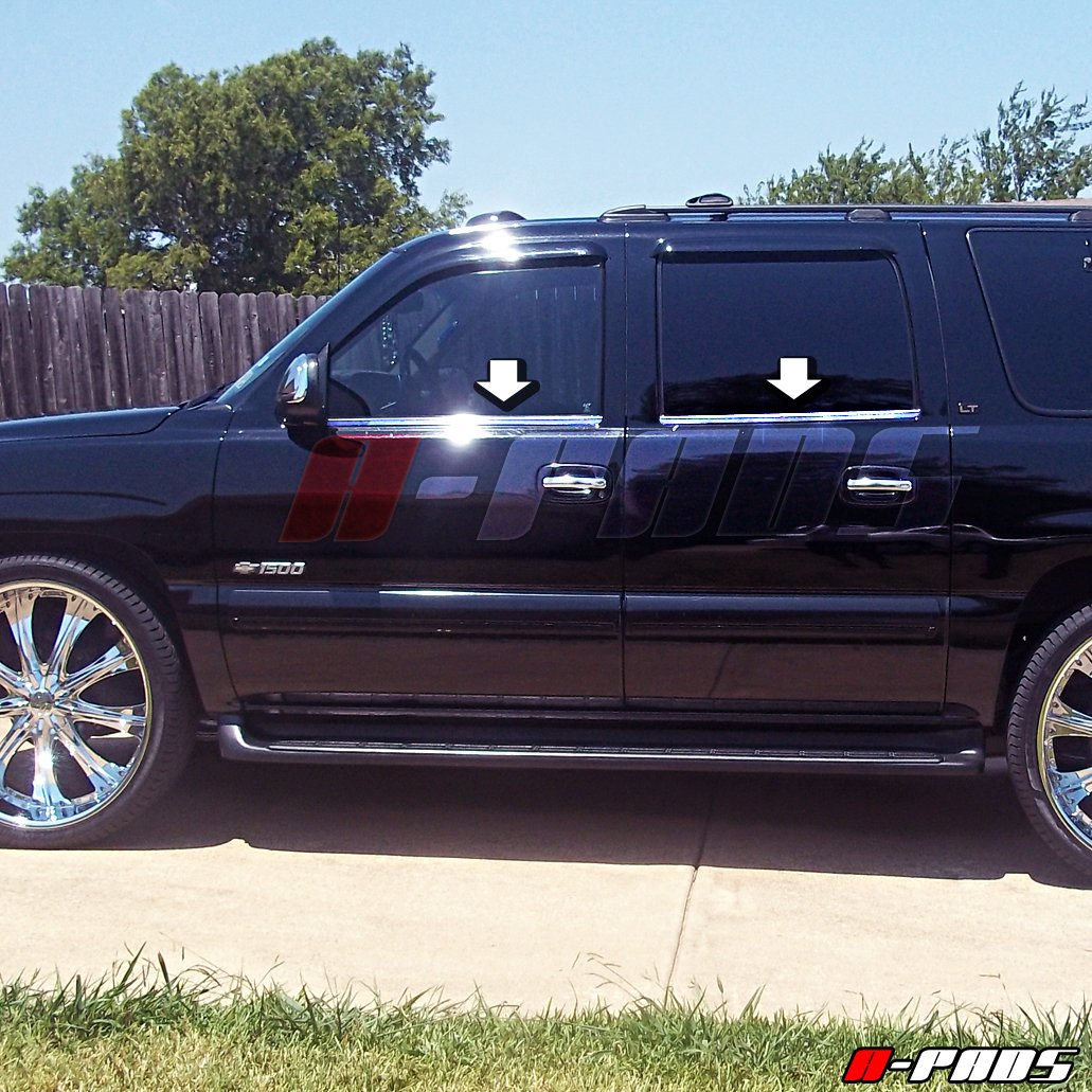 Lower Outline Bars A-PADS 4 Stainless STEEL Bottom Window Sill Trims for Chevy SUBURBAN 2000-2006